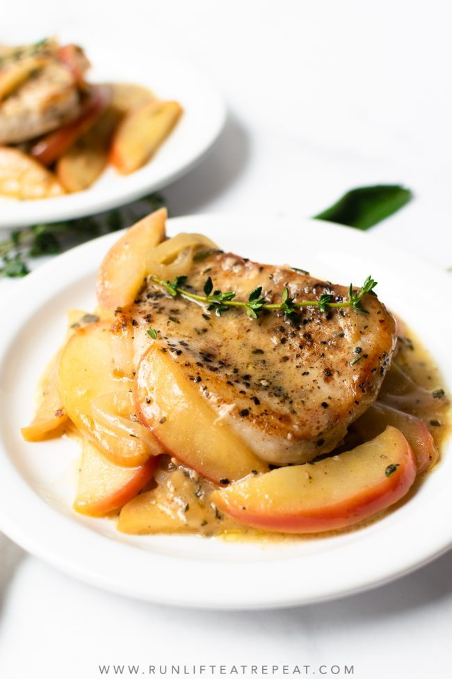 Starting with a simple flavor combination of cinnamon and herbs, this recipe for pork chops with apples is a one pan, 30 minute meal that is completely irresistible. Just wait until you smell it cooking! Truly a favorite.