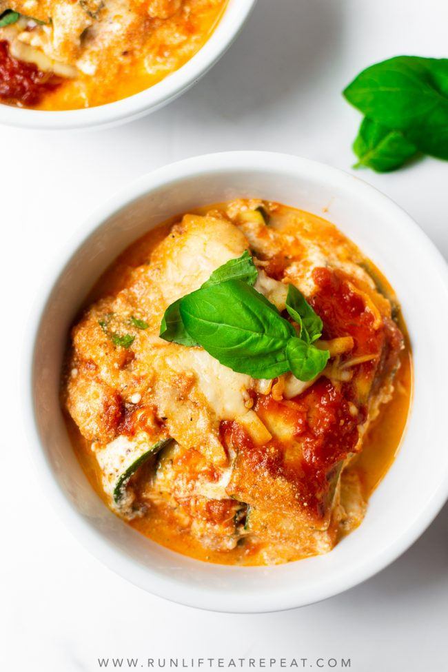 This zucchini lasagna has layers of thinly sliced zucchini, creamy ricotta cheese mixture, shredded cheese, flavorful marinara sauce, and then baked to perfection. This zucchini lasagna recipe is a family favorite and perfect for feeding a crowd!