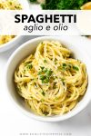 This simple spaghetti aglio e olio is packed with flavor from just a few basic ingredients. It's a recipe that's quick enough to make on a busy weeknight or a holiday and a pasta recipe that you'll make over and over again.