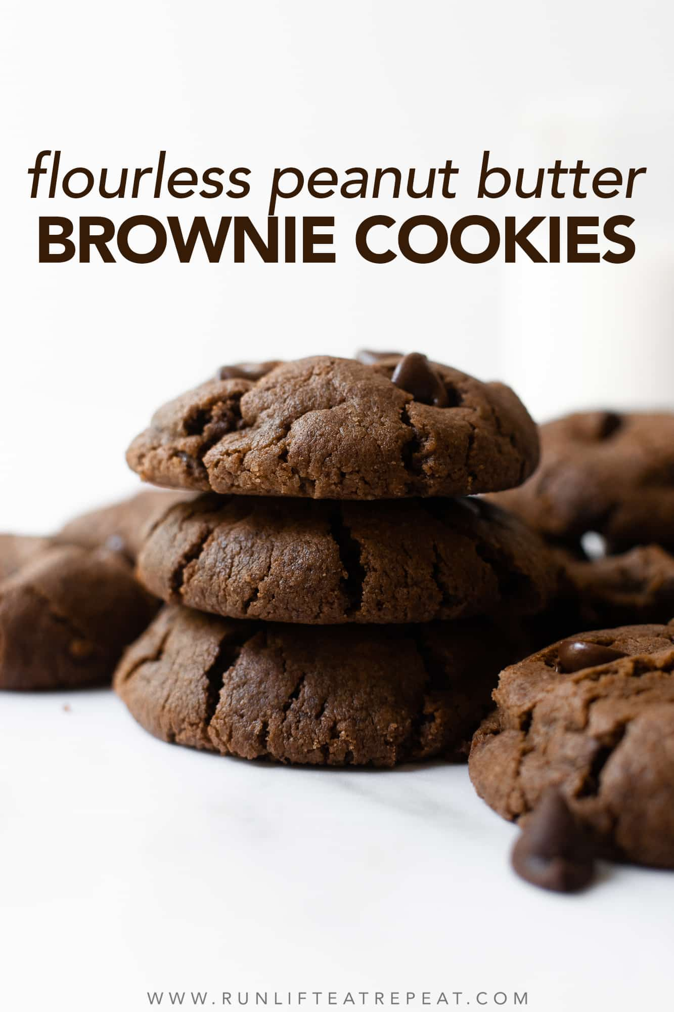 These flourless peanut butter brownie cookies are rich, soft-baked and chewy— that you won't believe that there's no flour or butter! With just 8 ingredients and no chilling, you'll find any excuse to make them. I recommend using mini chocolate chips to pack more into each cookie.
